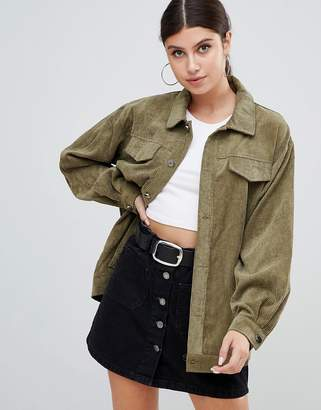 PrettyLittleThing light weight cord jacket in khaki