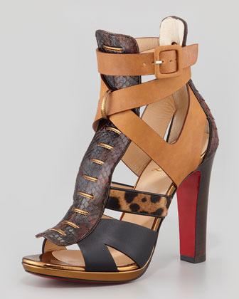 Christian Louboutin Keny Mixed-Media Red Sole Gladiator Sandal