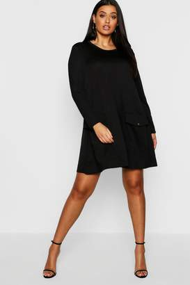 boohoo Plus Pocket Detail Shift Dress