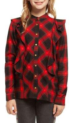 Dex Girls' Ruffled Plaid Shirt