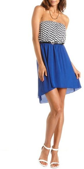 Charlotte Russe Belted Chevron Stripe Hi-Low Dress