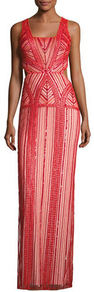 Parker Sleeveless Patterned Beaded Column Gown, Ruby $650 thestylecure.com