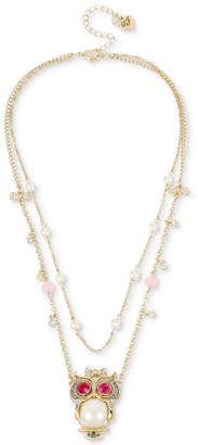 Betsey Johnson Gold-Tone Multi-Stone & Imitation Pearl Owl Pendant Double-Row Necklace