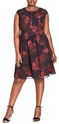 City Chic Crimson Rose Fit & Flare Dress
