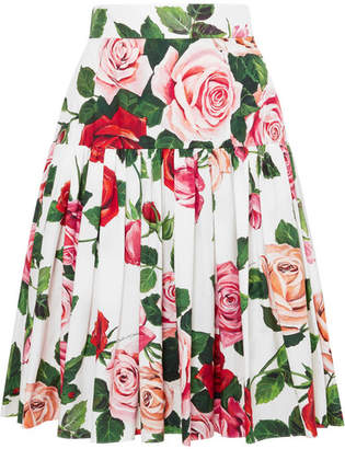 Dolce & Gabbana Floral-print Cotton-poplin Midi Skirt - White