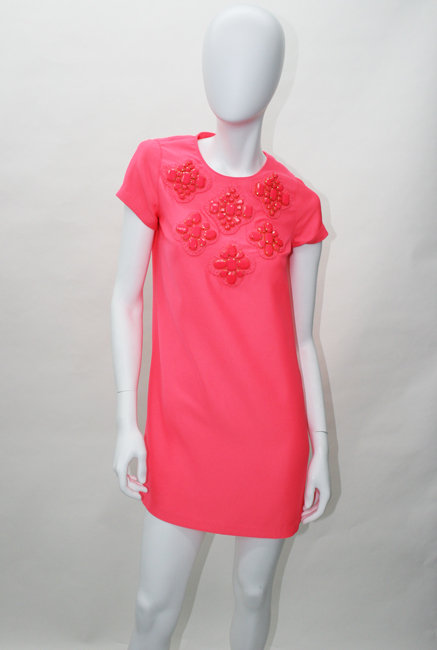 Karta Neon Pink Jewel Patch Shift Dress