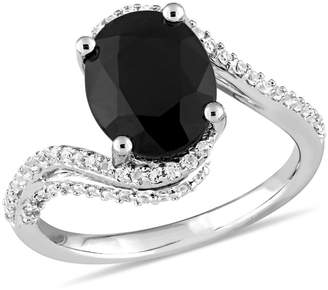 Concerto Sterling Silver, Black Sapphire and White Topaz Bypass Ring