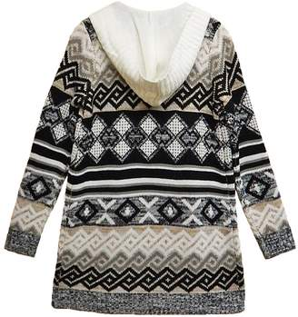 Absolutely Famous Print Hooded Cardigan