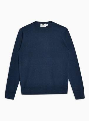 Topman Mens Navy Twist Hem Stitch Sweater