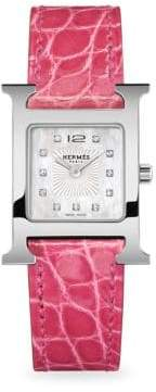 Hermes Heure H, Stainless Steel& Alligator Strap Watch