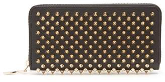 Christian Louboutin Panettone Spike Embellished Leather Wallet - Womens - Black Gold