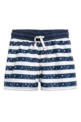 H&M Patterned Swim Shorts - Dark blue/striped - Kids