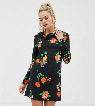 Asos Tall DESIGN Tall long sleeve cowl shift dress in pansy print