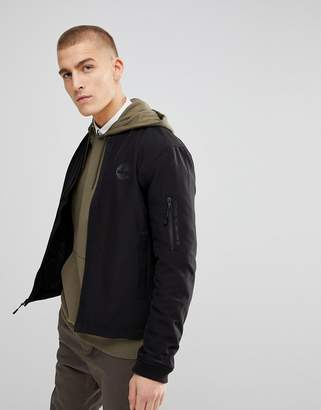 Timberland Soft Shell Bomber Jacket Back Logo In Black