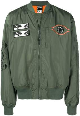 Perks And Mini Pam patch detail bomber jacket