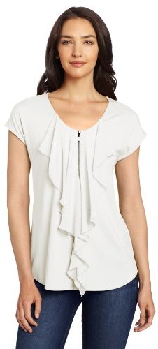 Chaus Women's Solid Combo Fabric Ruffle Front Top