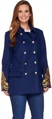 C. Wonder Double Breasted Peacoat with Lurex Embroidery