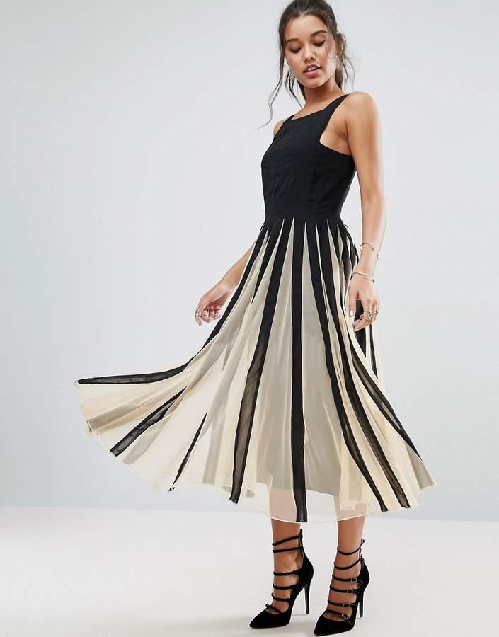 AsosASOS Mesh Fit and Flare Mono Midi Dress