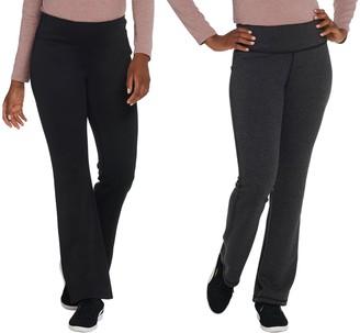 Denim & Co. Active Petite Reversible Knit Boot-Cut Pants