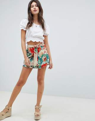 Parisian Floral Frill Hem Shorts With Tie Waist