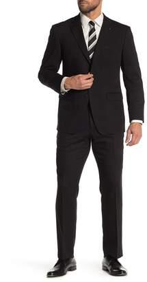 Perry Ellis Terry Black Solid Two Button Notch Lapel Slim Fit Suit