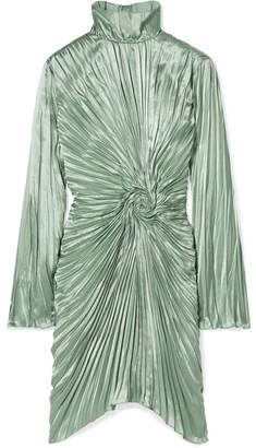 Ida Pleated Satin Mini Dress - Mint