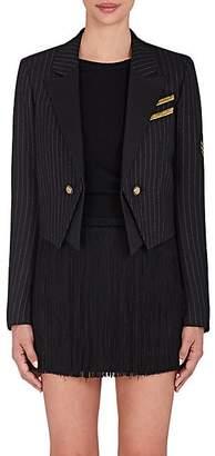 Saint Laurent WOMEN'S MILITARY-INSPIRED WOOL CROP JACKET - BLACK SIZE 44 FR