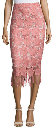 Alice + Olivia Floral Guipure Lace Pencil Skirt, Pink/White $295 thestylecure.com