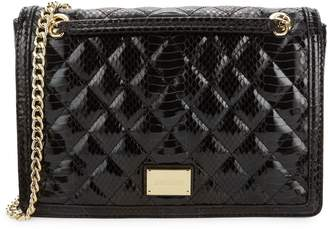 Love Moschino Embossed Snakeskin-Printed Faux Leather Shoulder Bag