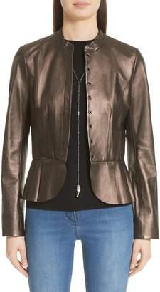 St. John Pearlized Nappa Leather Jacket