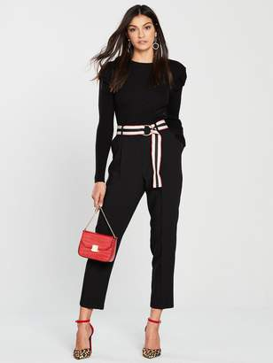 Wallis Belted Trouser - Black