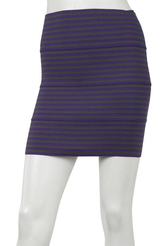 Pleasure Doing Business 4 Band Small Stripe Skirt in Purple/Charcoal -