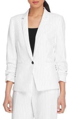 Tahari Arthur S. Levine Shirred-Sleeve Pinstripe Jacket
