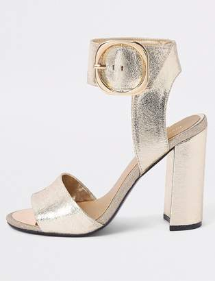 16bf43e4fffc River Island Wide Fit Buckle Ankle Heel Sandals - Gold