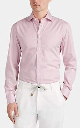 Luciano Barbera Men's Bengal-Striped Cotton Shirt - Dark Red