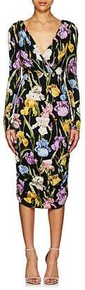 Dolce & Gabbana Women's Iris-Print Stretch-Silk Ruched Dress