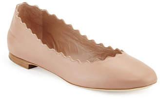 Chloé Lauren Scalloped Leather Ballet Flat, Light Pink