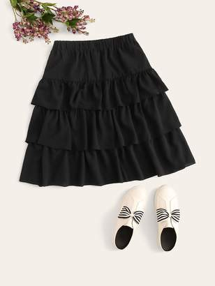 Shein Plus Solid Tiered Layered Skirt