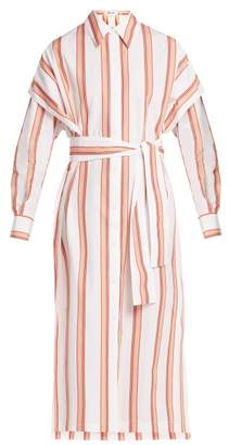 Diane von Furstenberg Striped Cotton Shirtdress - Womens - White Stripe