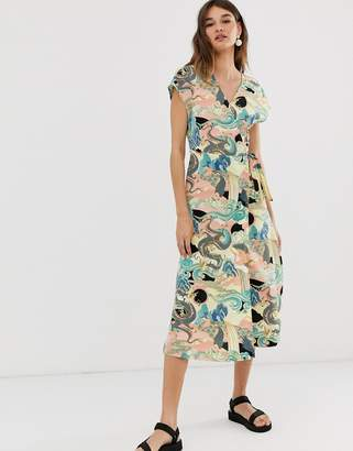 Monki wrap front mini dress with abstract print in pink