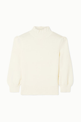 Co Ruffled Merino Wool Turtleneck Sweater - Ivory