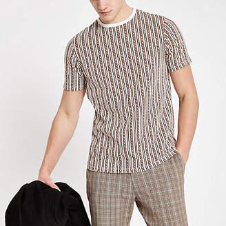 River Island Mens Brown RI monogram stripe slim fit T-shirt