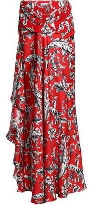 J.W.Anderson Draped Printed Crepe-Twill Maxi Skirt