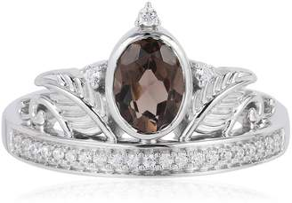 Enchanted Disney 1.11ctw Smoky Quartz and Diamond Pocahantas Tiara Sterling Silver Ring $279.90 thestylecure.com