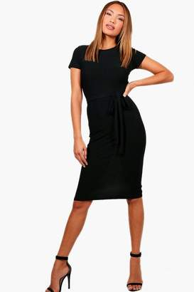 boohoo Tie Waist Fitted Dress