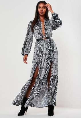 Missguided Gray Mixed Print Maxi Dress