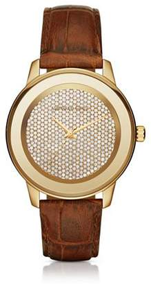 Michael Kors MK2455 Kinley Pavé Gold-Tone And Leather Women's Watch