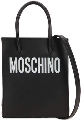 Moschino Small Logo Printed Leather Shoulder Bag
