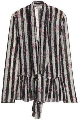 Lanvin Pussy-Bow Striped Silk-Chiffon Blouse