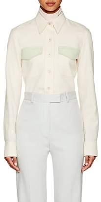 Calvin Klein Women's Colorblocked Wool Gabardine Uniform Shirt